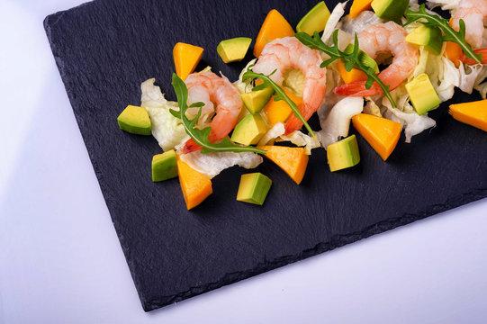 shrimp salad avocado mango and arugula1