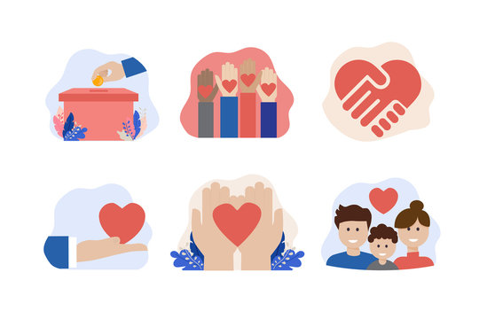 charity and donation vector icon set