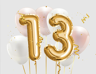 Happy 13th birthday gold foil balloon greeting background. 13 years anniversary logo template- 13th celebrating with confetti. `illustration 3D`