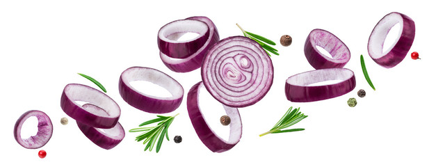 Sliced red onion rings isolated on white background with clipping path