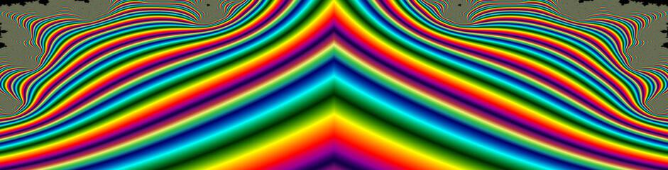 Türaufkleber Fractal Wellen Widescreen colorful rainbow fractal 3D background