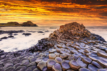 Sunset view on the Giants Causeway in Northern Ireland