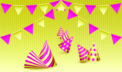 Bunting flags and birthday party hats. Design for greeting card or Carnival card. Vector illustration EPS10