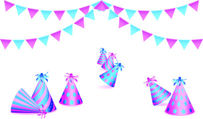 Bunting flags and birthday party hats on white background. Vector illustration EPS10