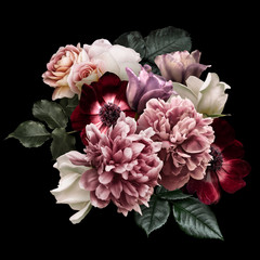 Spoed Foto op Canvas Tulp Dark pink peony, white roses, red anemone, purple tulip isolated on black background. Floral arrangement, bouquet of garden flowers. Can be used for wedding invitations, greeting card.