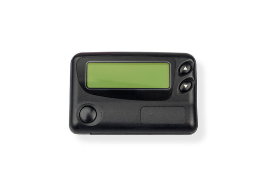 A pager or a beeper ,One way pagers can only receive messages on white background.Isolated