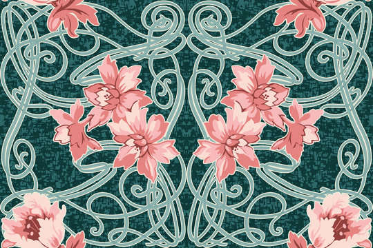 Seamlessly repeating art nouveau style floral wallpaper pattern