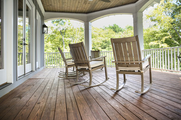 Rocking Chairs on a Southern Porch in rural area