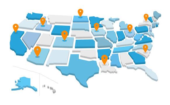 Mappa degli stati uniti d'america con icone gps. Illustrazione vettoriale isolata sullo sfondo bianco