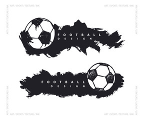 Abstract design with soccer ball. Grunge style. Background for football. Sports horizontal banner template.
