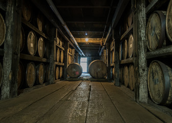 Fototapete - Walking Down Barrel Storage in Distillery