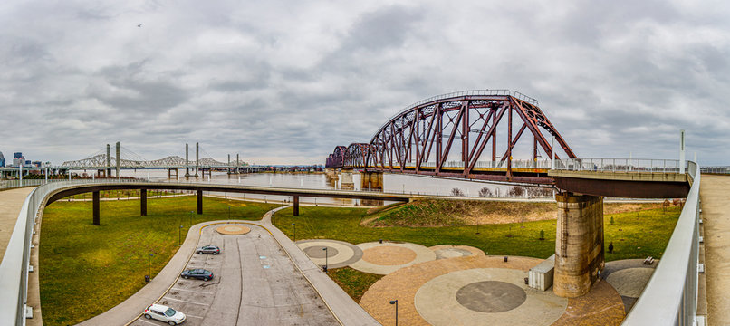 View on Big Four Bridge and Ohio river in Louisville at daytime in spring