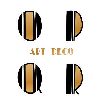 Art deco gold retro letters, alphabet. Hand drawn vector creative alphabet. Trend 2020 retro style