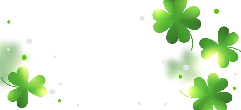 """Background for St. Patrick's day with clover. Isolate. Background for the inscription """"St. Patrick"""" on March 17 in Ireland. Concept: banner, website, social. toils. 3D Illustration."""