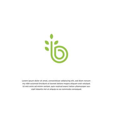 Letter B nature logo icon design template. Leaf, bloom, green vector illustration