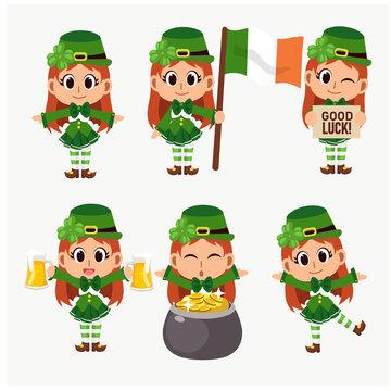 Set of vector illustration of St.Patrick's Day Cute cartoon mascot Character. Variety of st Patrick cute girl character. Girl Leprechaun.