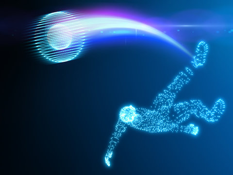 Soccer player in action on black background with white smoke and technological mode blue player, blue stroke of the ball; 3d illustration