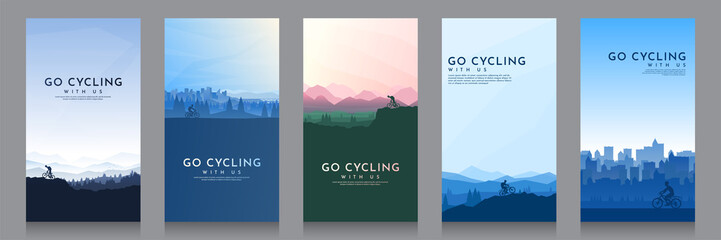Door stickers Dark grey Mountain bike. City cycling. Travel concept of discovering, exploring and observing nature. Cycling. Adventure tourism. Minimalist graphic flyers. Polygonal flat design for coupon, voucher, gift card