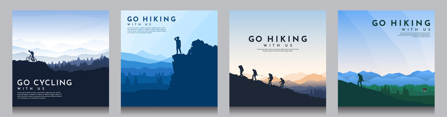 Foto op Canvas Bleke violet Vector brochure cards set. Travel concept of discovering, exploring and observing nature. Hiking. Climbing. Adventure tourism. Flat design for social media, blog post, poster, invitation. gift card.