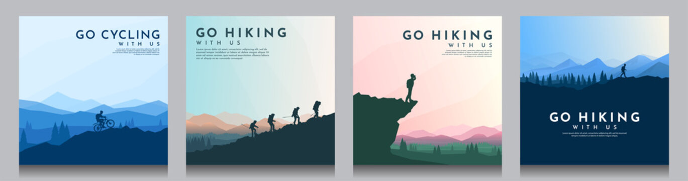 Vector brochure cards set. Travel concept of discovering, exploring and observing nature. Hiking. Climbing. Adventure tourism. Flat design for social media, blog post, poster, invitation. gift card.