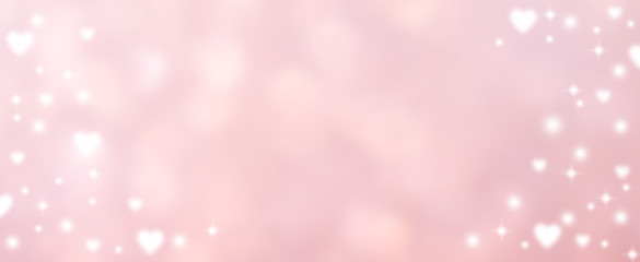 abstract blur soft gradient pink color in panoramic background with heart shape and star glitter...