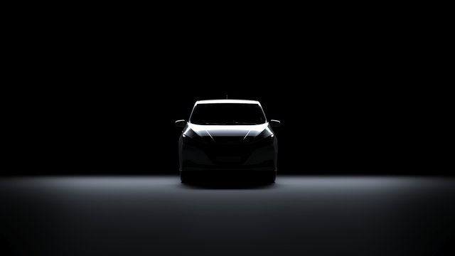 Back Light Electric Sports Car 3d Render with white car paint in Black Background. Nissan Leaf