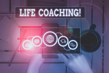 Text sign showing Life Coaching. Business photo text demonstrating employed to help showing attain their goals in career Picture photo system network scheme modern technology smart device