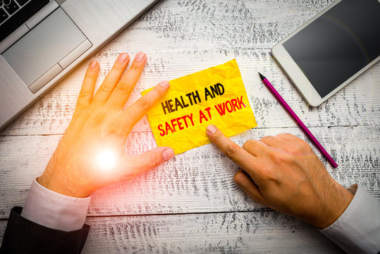 Word writing text Health And Safety At Work. Business photo showcasing Secure procedures prevent accidents avoid danger