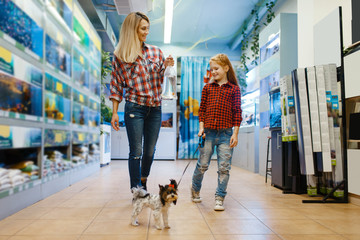 Mother with daughter walking in pet store Fotomurales