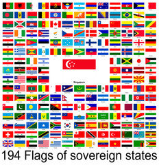 Singapore, collection of vector images of flags of the world