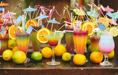 A lot of colorful cocktails stock photo