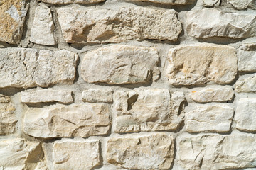 Close Up of Natural Coloured Stone Wall as Background