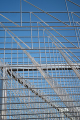 Metal Structure against Clear Blue Sky Background