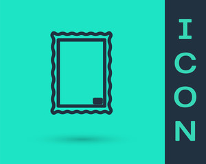 Black line Picture icon isolated on green background. Vector Illustration