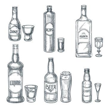 Alcohol drink bottles and glasses. Vector hand drawn sketch isolated illustration. Bar menu design elements