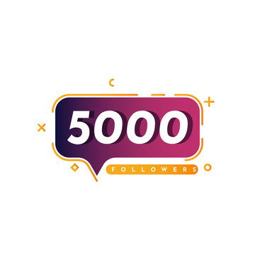 Thank You 5000 Followers Template Design with icon messages