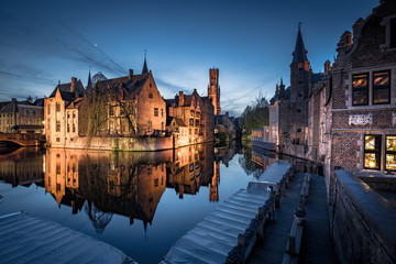 Papiers peints Bruges Historic city of Brugge in twilight, Flanders, Belgium