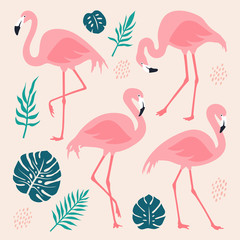 Canvas Prints Flamingo Vector set with pink flamingos and tropical palm leaves. Hand Drawn illustration, isolated elements.