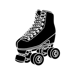 silhouette of roller skate of nineties retro isolated icon vector illustration design