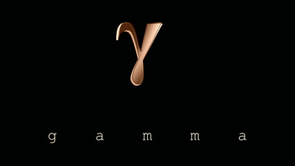 Gamma. Sign, symbol, lowercase letter of the Greek alphabet, third letter. Illustration, logo, poster. Simplicity and elegance in the icon in ocher tones and design effects.