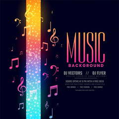 colorful music flyer party background with notes