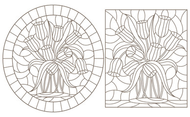 A set of contour illustrations of stained glass Windows with Tulips , dark contours on a white background, round and rectangular image