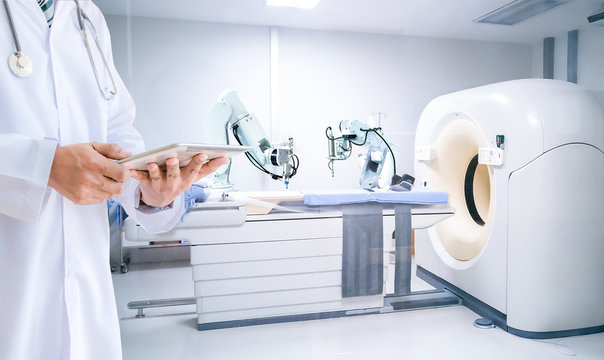 Medical doctor control robot of x-ray machines hospital computer