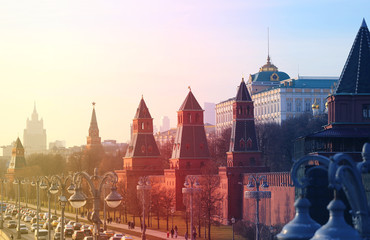 Door stickers Moscow Beautiful photo of views of the Moscow Kremlin
