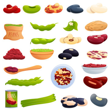 Kidney bean icons set. Cartoon set of kidney bean vector icons for web design