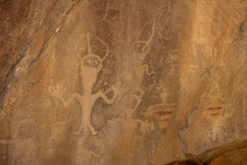 Ancient Alien Figures in Native American Cultural Rock Art Petroglyphs Wall mural