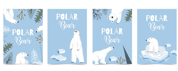 Collection of polar bear background set with ice and tree.Editable vector illustration for website, invitation,postcard and sticker