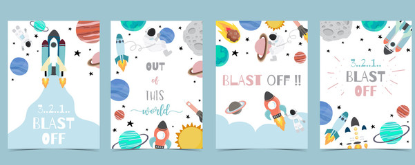 Estores personalizados con tu foto Collection of space background set with astronaut, sun, moon, star,rocket.Editable vector illustration for website, invitation,postcard and sticker.Include wording out of this world,blast off