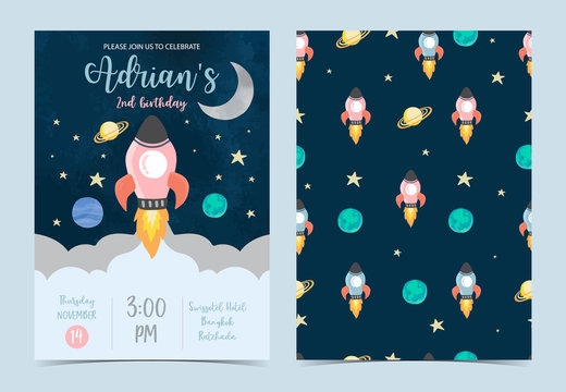 Collection of space background set with moon, star,rocket.Editable vector illustration for website, invitation,postcard and sticker