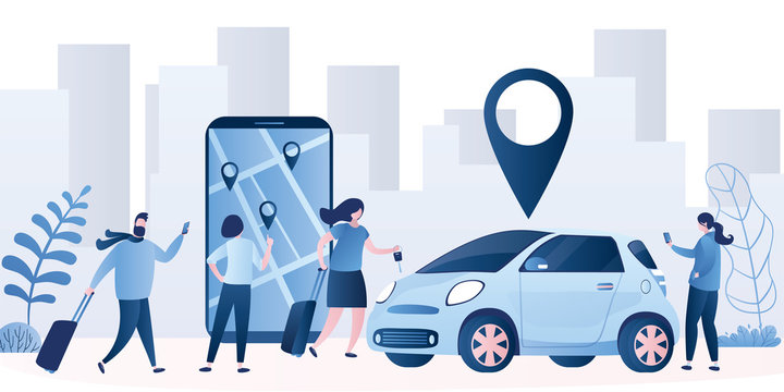 Car sharing service background. Vehicle for a short time. Modern car and smartphone with app.